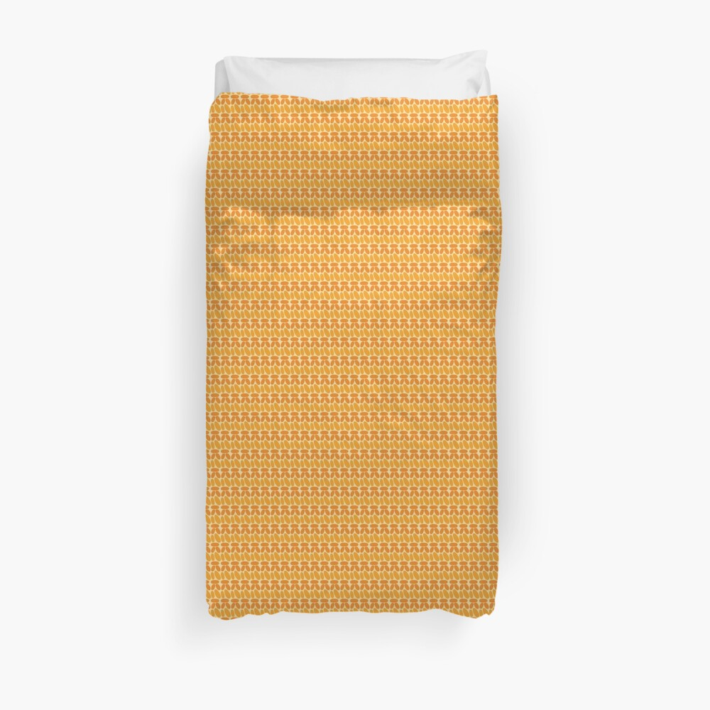 Pseudo crochet pattern in orange and yellow Duvet Cover