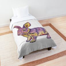Colorful pink yellow watercolor bunny Comforter