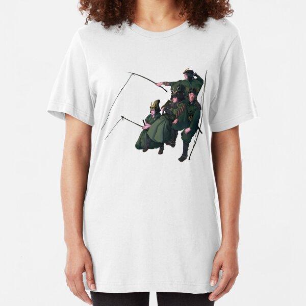 Fishing Samurai Japanese Warrior Girls Slim Fit T-Shirt
