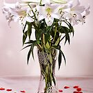 Lilies And Rose Petals by Lynne Morris
