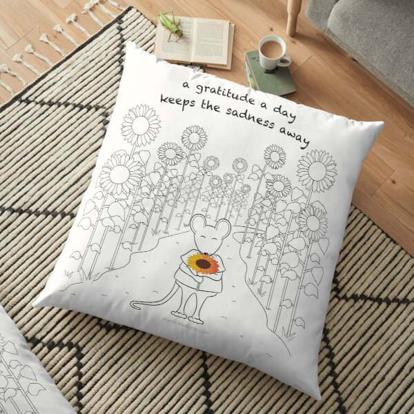 MantraMouse Sunflower Gratitude Cartoon Floor Pillow