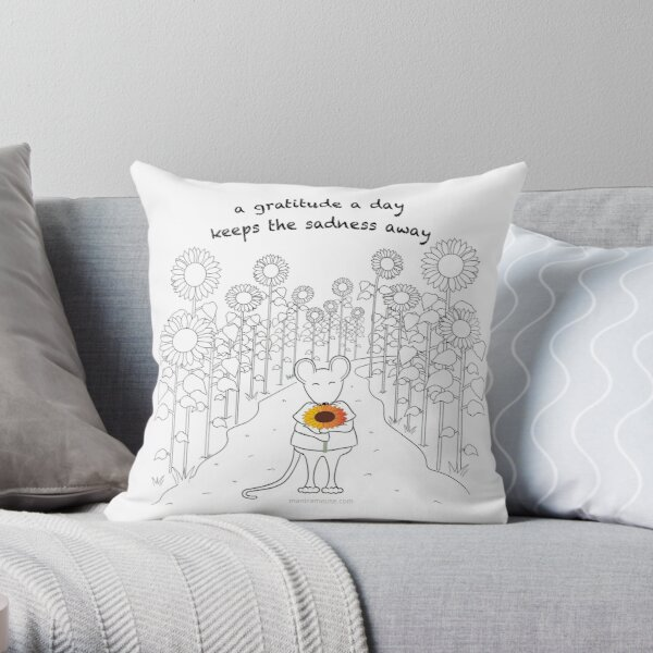 MantraMouse Sunflower Gratitude Cartoon Throw Pillow