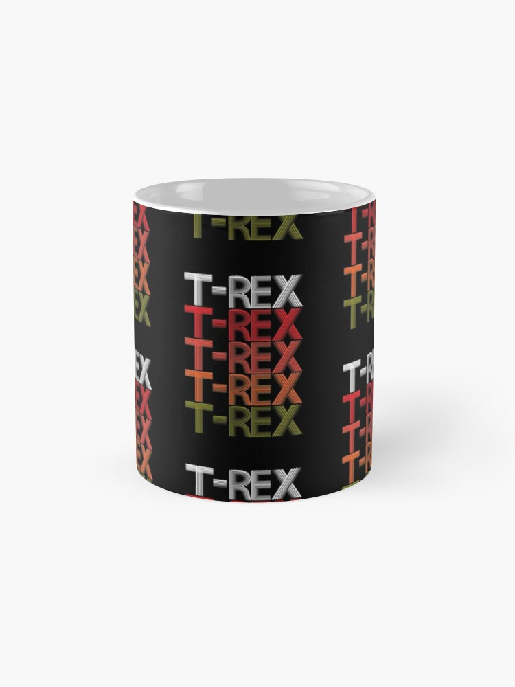 Alternate view of T-Rex Dinosaur Cool Retro Wordmark Pattern Design. Mug