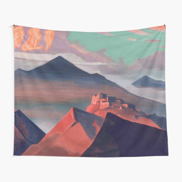 Tent #Mountain by Nicholas #Roerich. #Painting, desert, art, #landscape, mountain, outdoors, tent, valley, canvas Tapestry