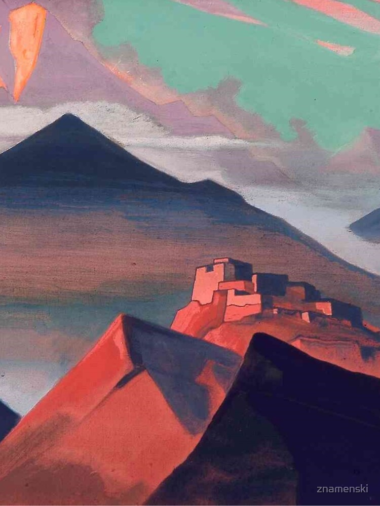 Tent #Mountain by Nicholas #Roerich. #Painting, desert, art, #landscape, mountain, outdoors, tent, valley, canvas by znamenski