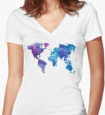 Watercolor Map of the World Women's Fitted V-Neck T-Shirt