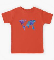 Watercolor Map of the World Kids Tee