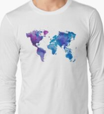 Watercolor Map of the World Long Sleeve T-Shirt