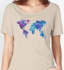 Watercolor Map of the World Women's Relaxed Fit T-Shirt
