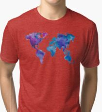 Watercolor Map of the World Tri-blend T-Shirt