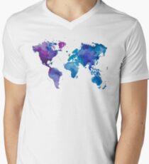 Aquarell Karte der Welt T-Shirt mit V-Ausschnitt für Männer