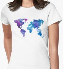Watercolor Map of the World Womens Fitted T-Shirt