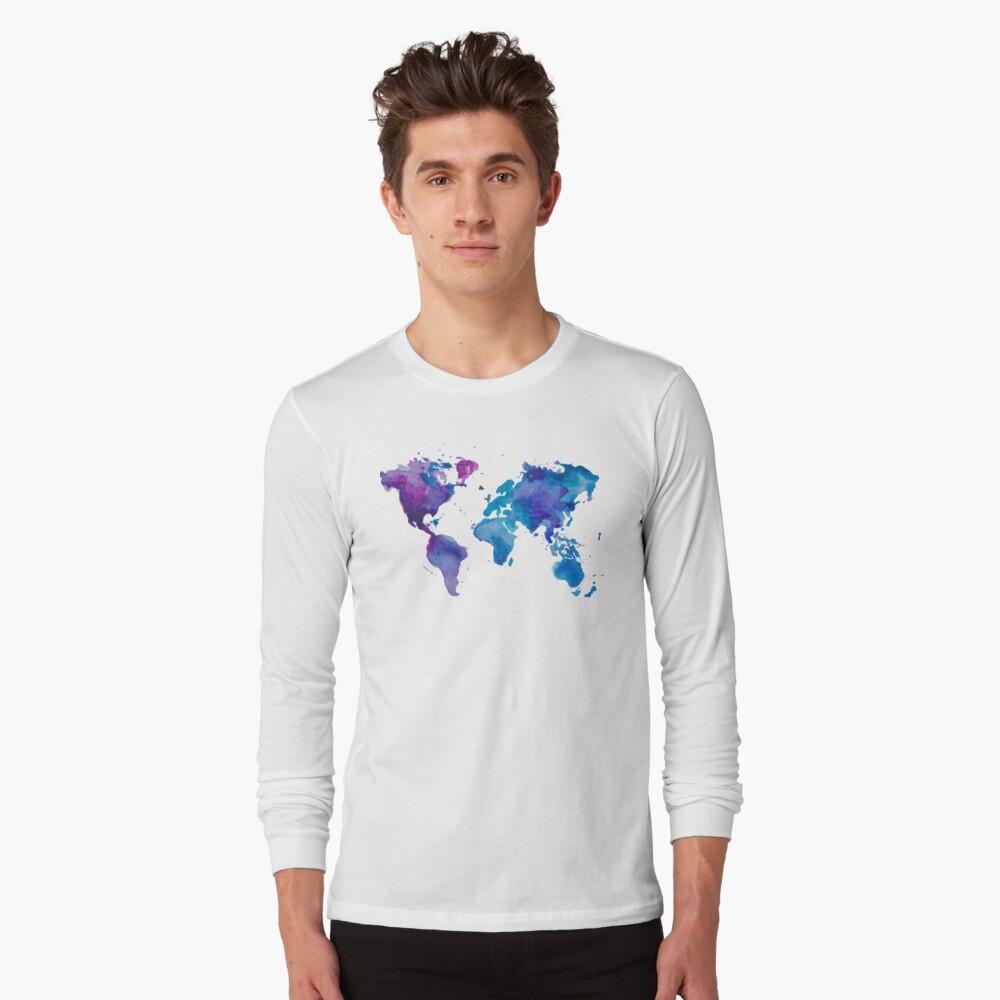 Aquarell Karte der Welt Langarmshirt