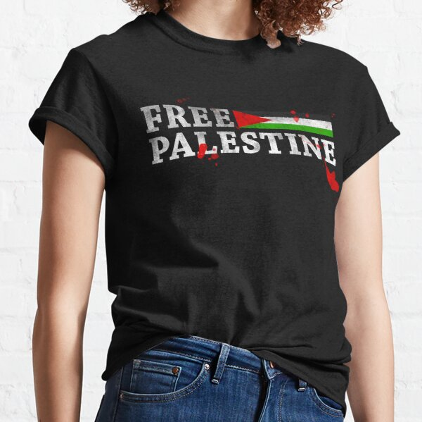 POPULAR DESIGN - FREE PALESTINE GRUNGY BLOOD T SHIRT AND CARDS Classic T-Shirt