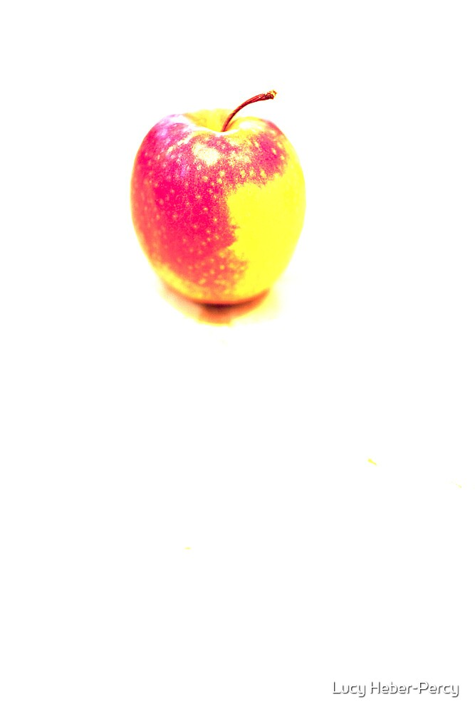 Red and Yellow Apple on White Background by Lucy Heber-Percy