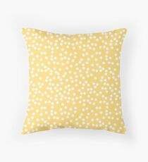 Cute Yellow and White Polka Dots Throw Pillow