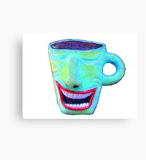 wacky smiling coffee cup Canvas Print