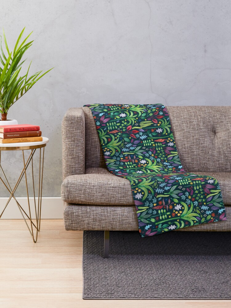 Alternate view of Jungle Flora - watercolour pattern by Cecca Designs Throw Blanket