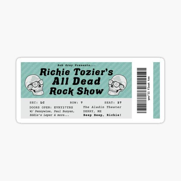 All Dead Rockshow Ticket Teal Sticker