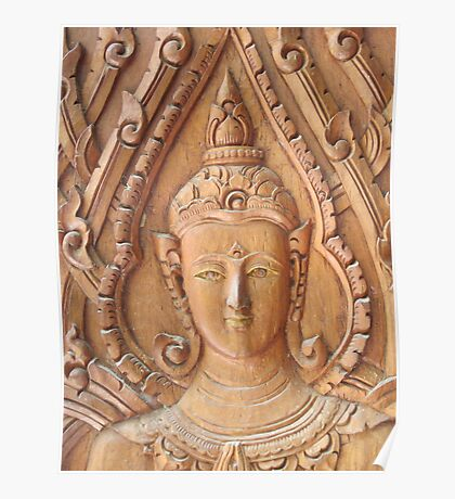 Thai Buddhist Wood Carving Poster