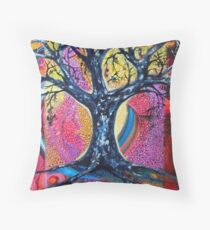 'Tree in an Abstract Landscape' Throw Pillow