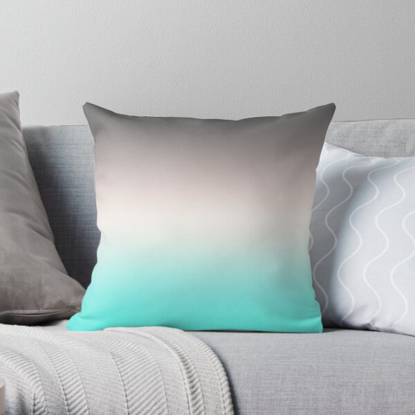 Turquoise gray Ombre  Throw Pillow