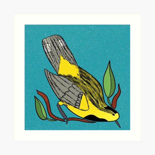 Yellow Bird Backman Warbler Songbird 6 of 9 Art Print