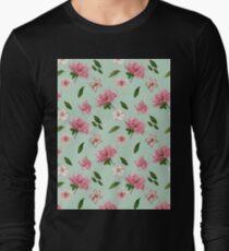 Pink Azaleas and Petunias Floral Mint Green Pattern Long Sleeve T-Shirt