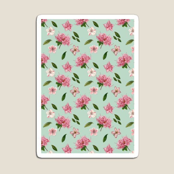 Pink Azaleas and Petunias Floral Mint Green Pattern Magnet