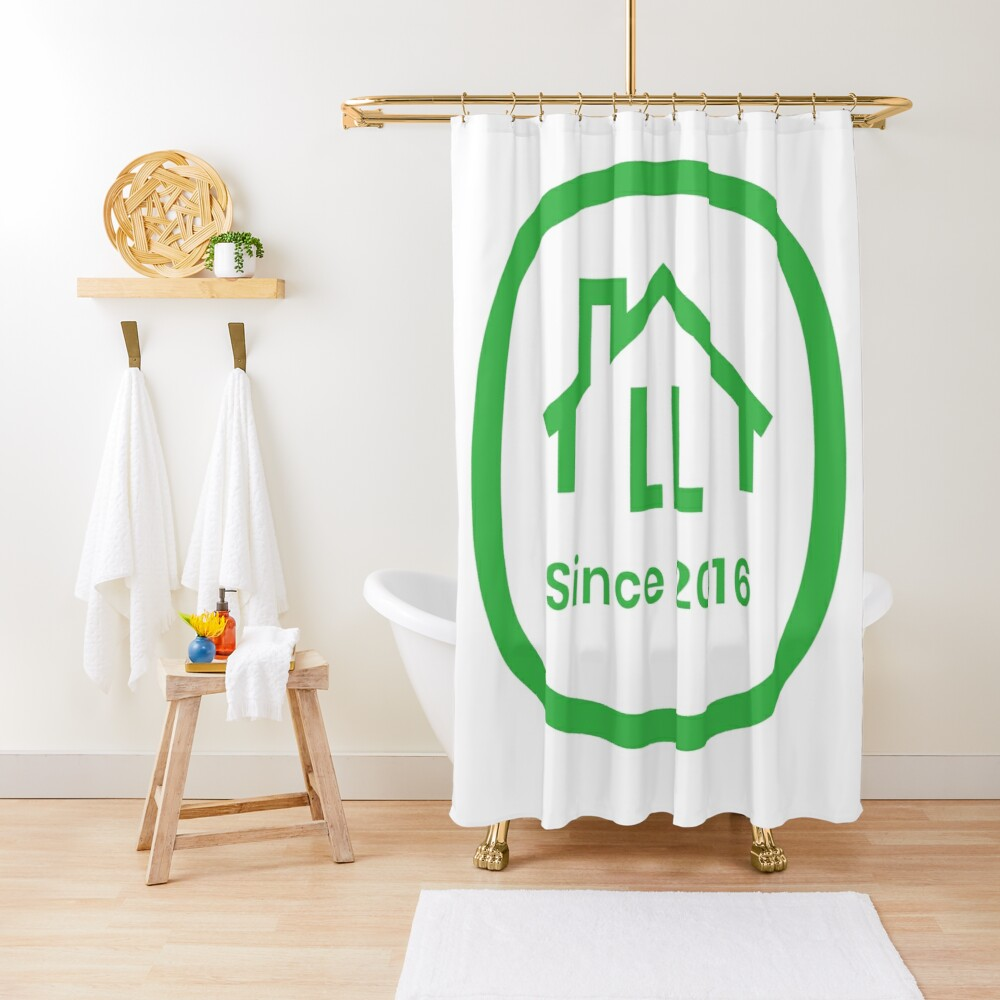 LL White Badge Shower Curtain