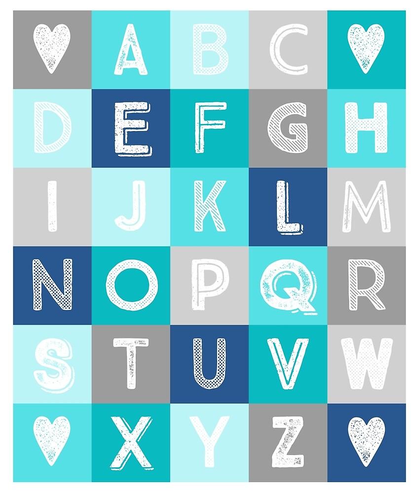 Blue Teal Grey Alphabet art decor pattern by dreamingmind
