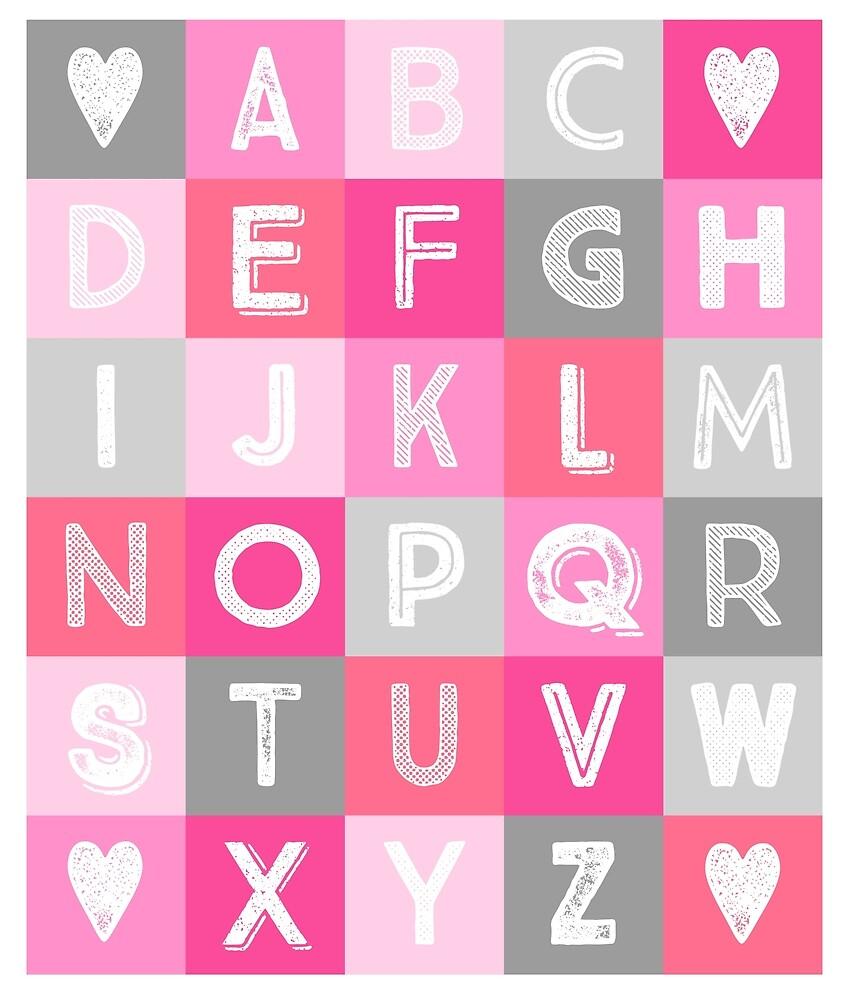Pink grey Alphabet art decor pattern by dreamingmind