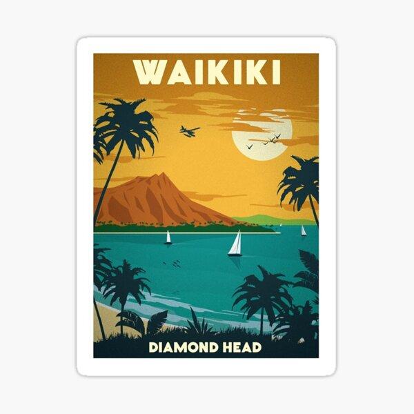 Affiche Vintage Waikiki Hawaii Sticker