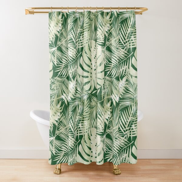 Green Jungle Ferns Shower Curtain