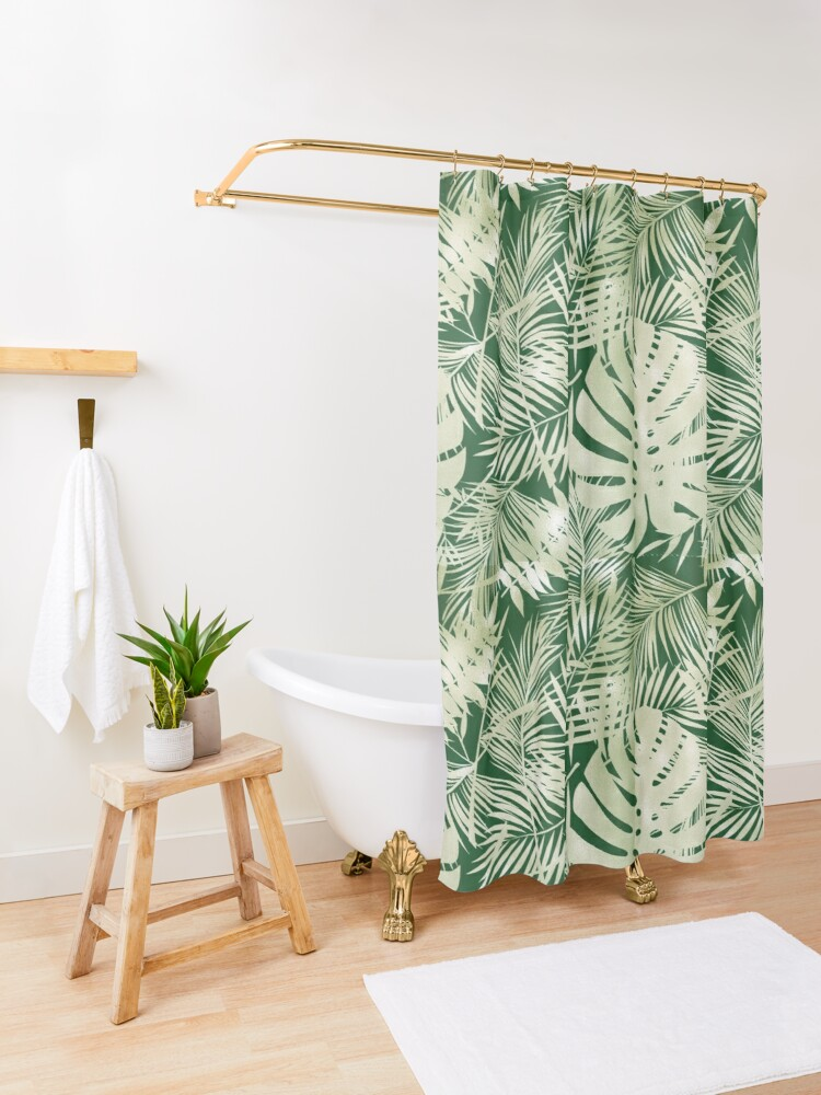 Alternate view of Green Jungle Ferns Shower Curtain