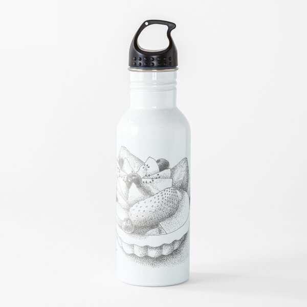Modern Pastry Fruit Tart Pen and Ink Drawing Water Bottle