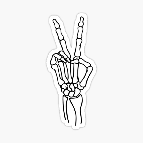 peace out skeleton hand Sticker