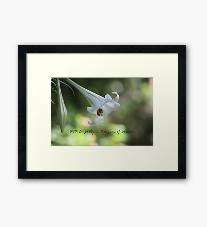 With Empathy in this Time of Sorrow Framed Print