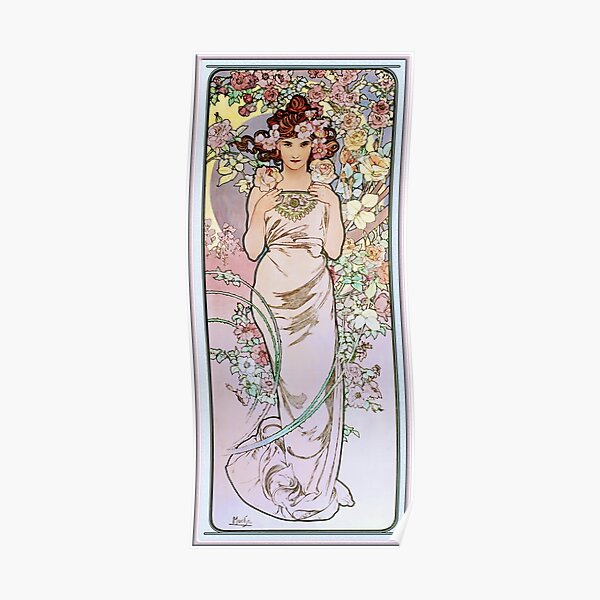 Rose by Alphonse Mucha - Art Nouveau Old Masters Prints Poster