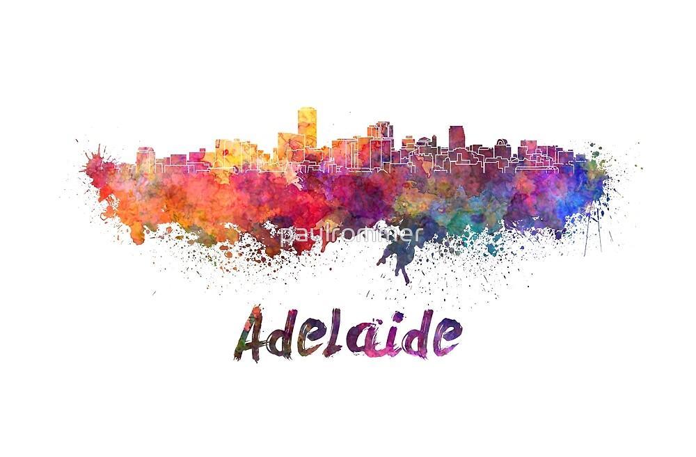 Adelaide skyline in watercolor by paulrommer