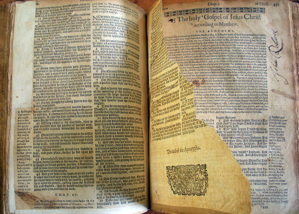 """Lothrop Bible With Torn Page"" By Sturgislibrary"