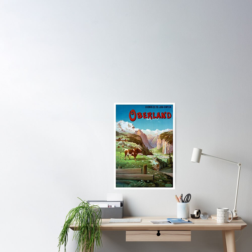 Switzerland Oberland Vintage Travel Poster Restored Poster