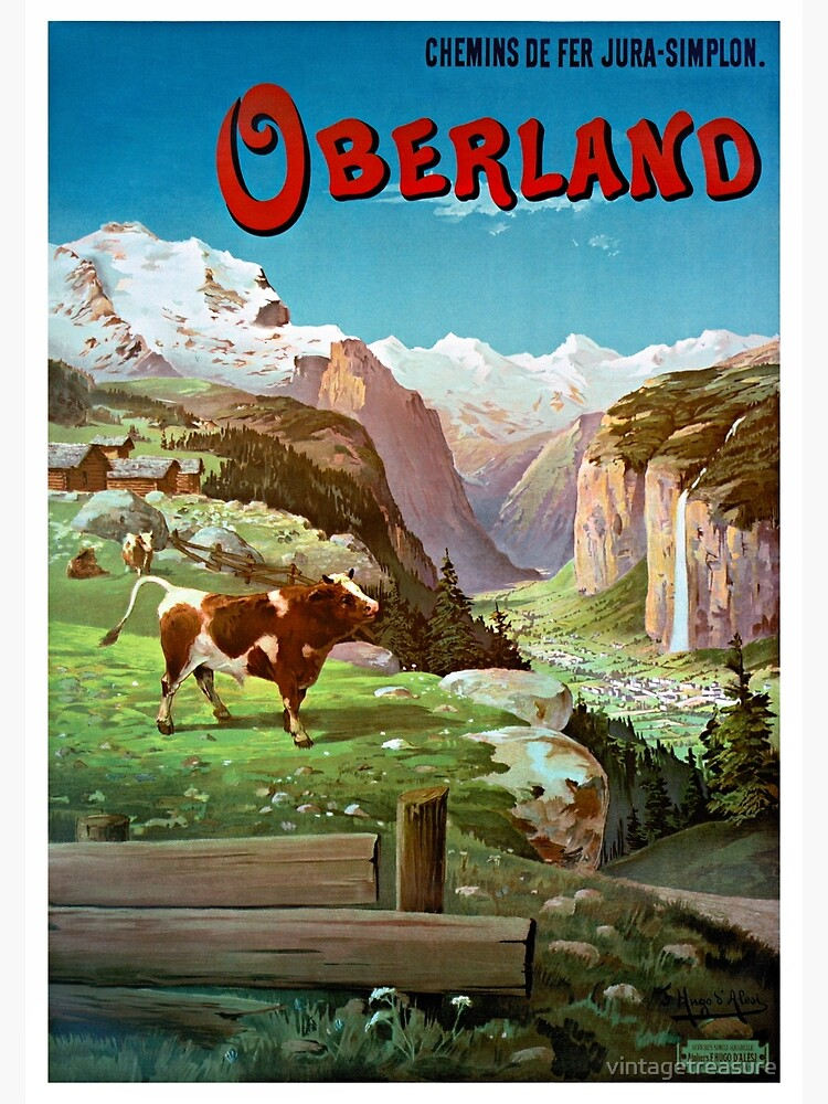 Switzerland Oberland Vintage Travel Poster Restored by vintagetreasure