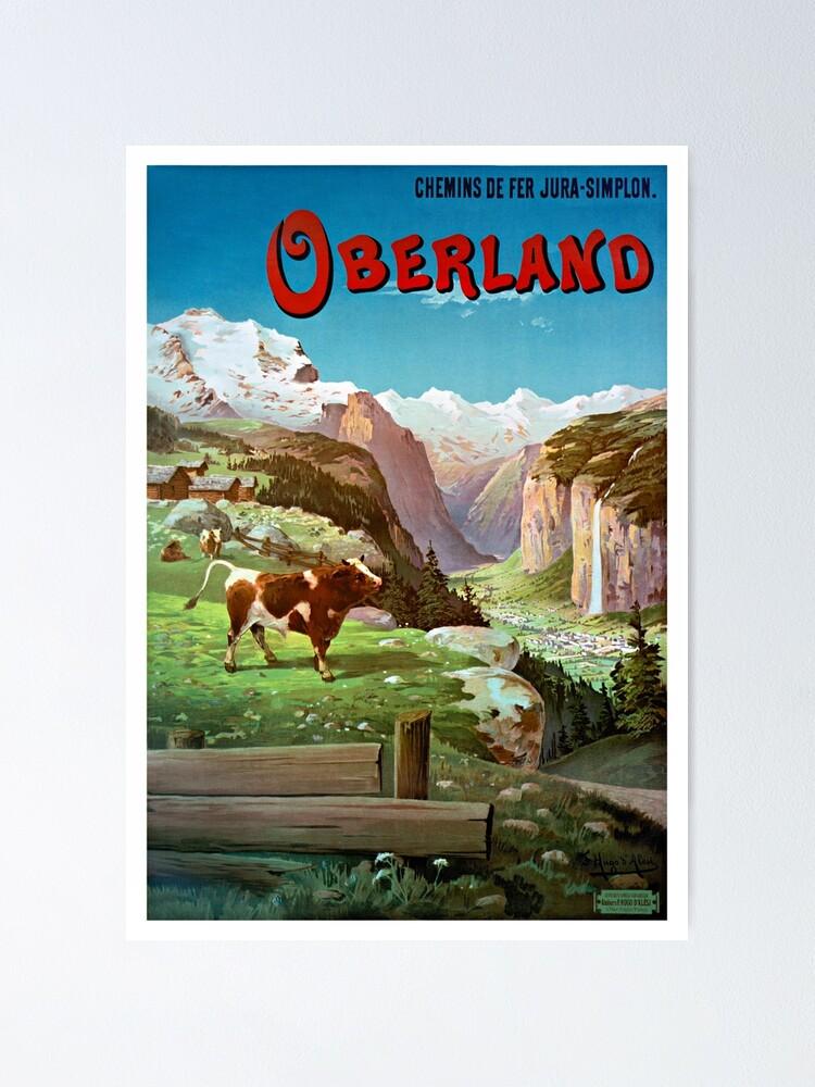 Alternate view of Switzerland Oberland Vintage Travel Poster Restored Poster