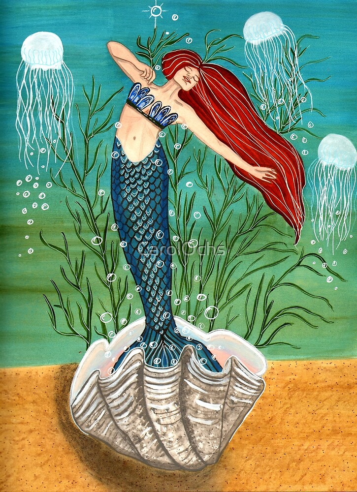 Out Of Her Shell - Mermaid Art by CarolOchs