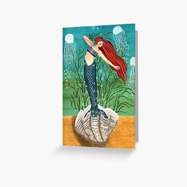 Out Of Her Shell - Mermaid Art Greeting Card