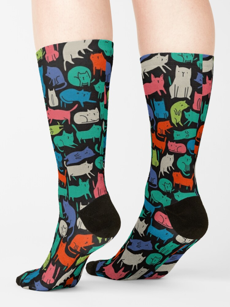 Alternate view of Cool Cats. Funny cute colorful pet design. Socks
