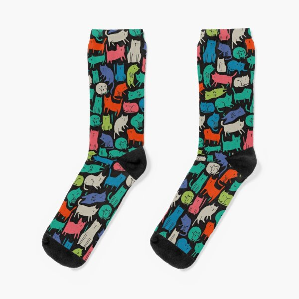 Cool Cats. Funny cute colorful pet design. Socks