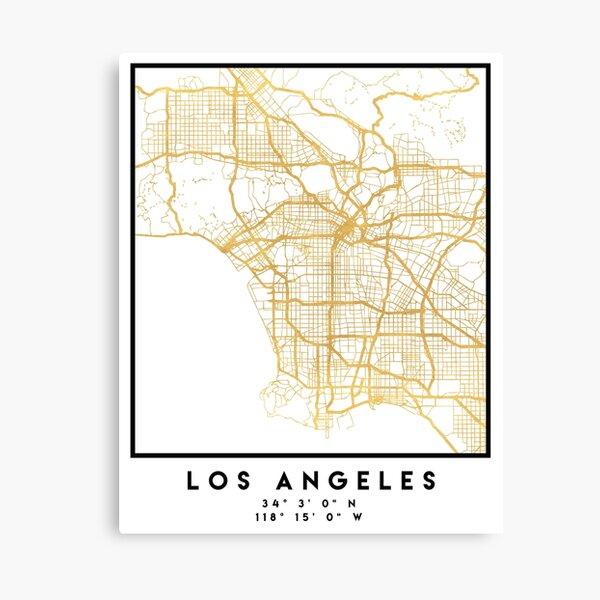 LOS ANGELES KALIFORNIEN CITY STREET MAP ART Leinwanddruck