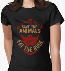 save the animals, EAT THE RUDE Women's Fitted T-Shirt